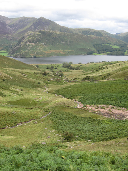 Whiteless Pike behind Rannerdale Knotts on the far side of Crummock Water