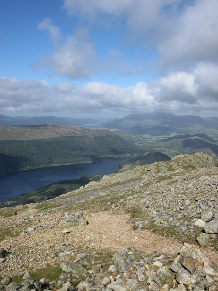 Thirlmere and the Skiddaw fells from high up on the Browncove Crags path