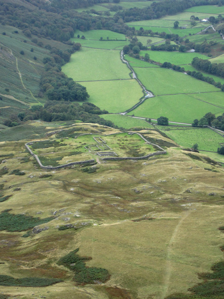 ...and zooming in on the remains of MEDIOBOGDVM (Hard Knott Roman Fort)