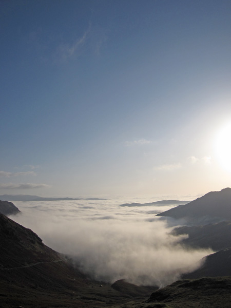 Little Langdale temperature inversion from Wrynose Pass as I head for Eskdale