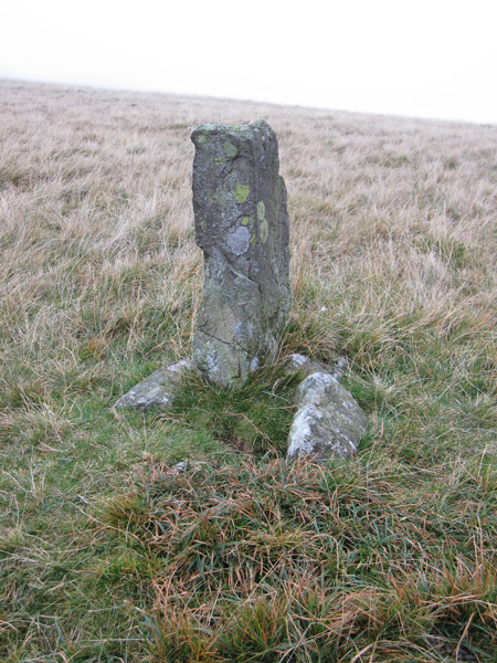 The boundary stone in the col between Green Crag and Crook Crag