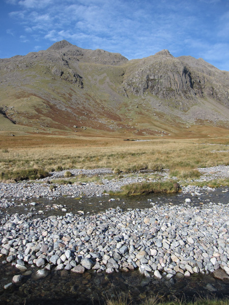 Scafell Pike and Pen at the top of Dow Crag from Great Moss