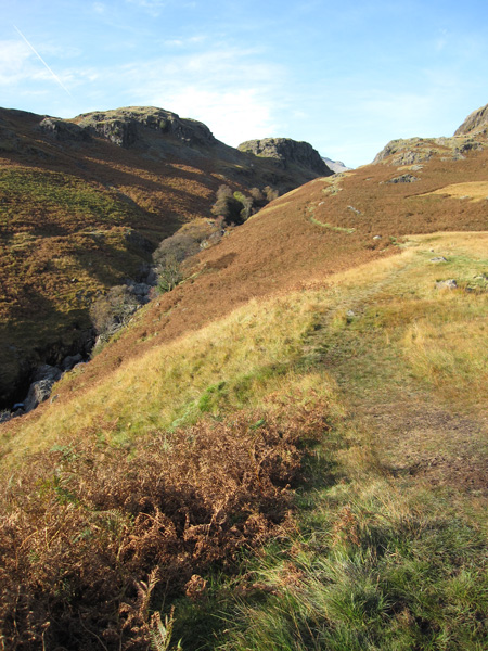 Looking back up my descent path, high above the River Esk at this point