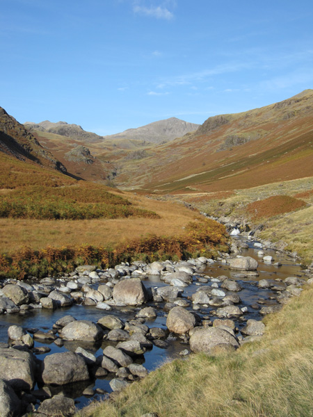 The River Esk with Bowfell in the distance