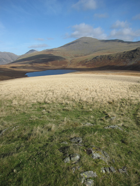 Burnmoor Tarn and Scafell from Boat How's summit