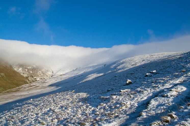 Looking back up to Stybarrow Dodd, still in cloud