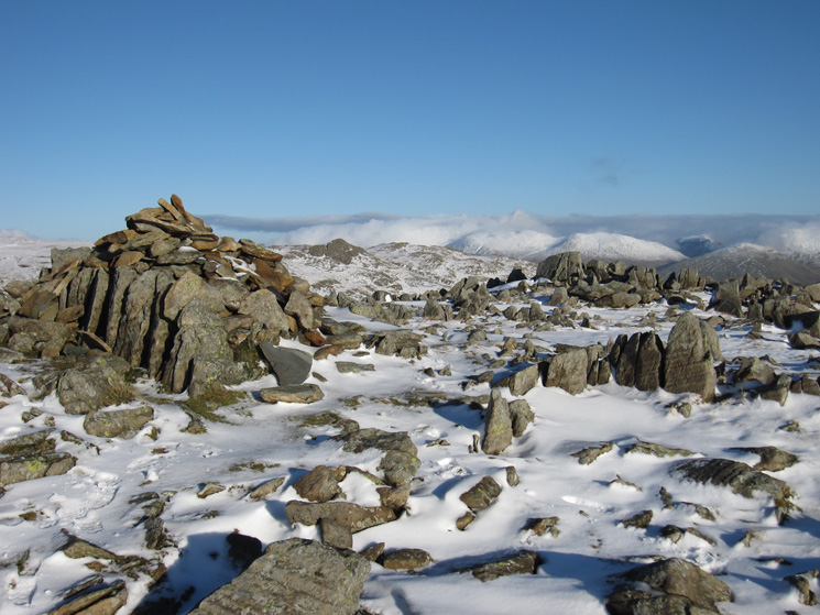 Thunacar Knott's summit, with the rocky Sergeant Man just to the right of the cairn
