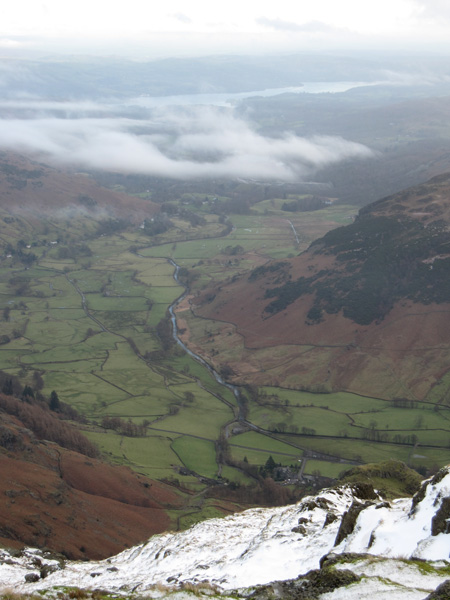 Great Langdale with Windermere in the distance from Harrison Stickle's summit