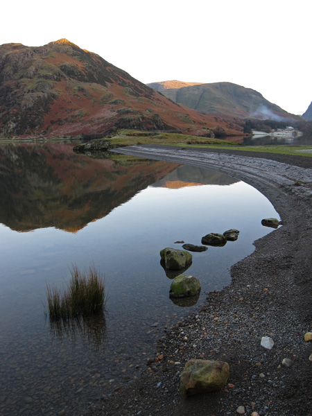 A frosty Low Ling beach and a reflecting Rannerdale Knotts