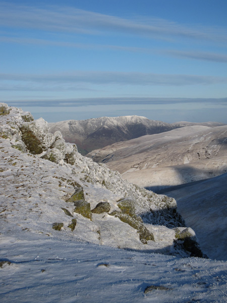 Blencathra in the distance from Browncove Crags