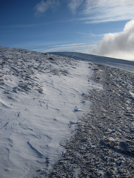 The way ahead to Helvellyn, there is a biting wind up here