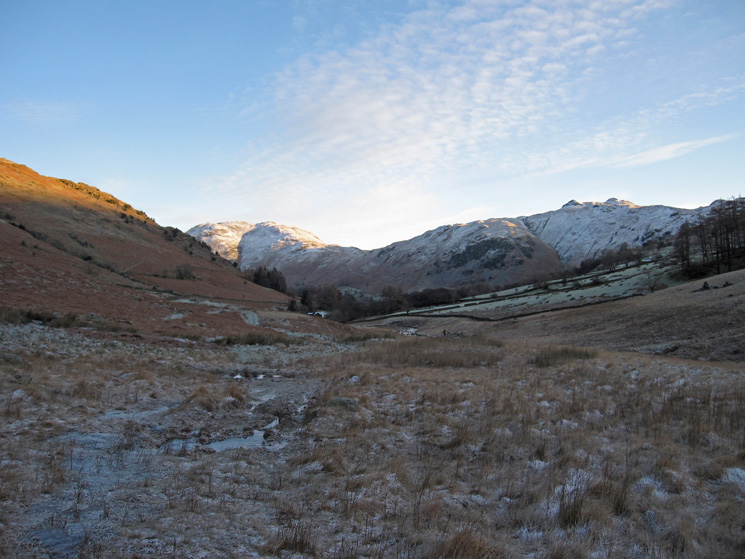 Snow on Place Fell and Angletarn Pikes from Deepdale