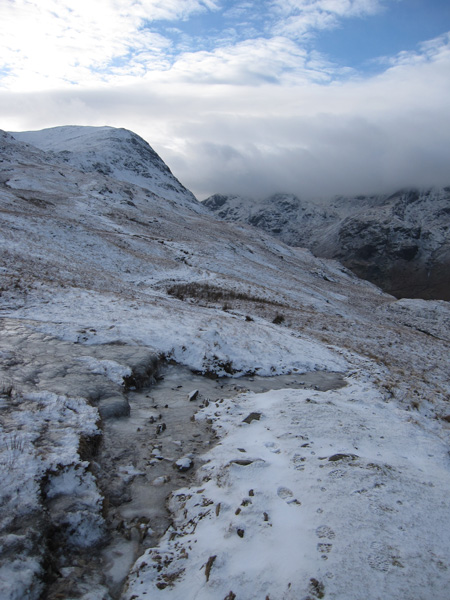 Looking back to St Sunday Crag as we take the path on Birks flank