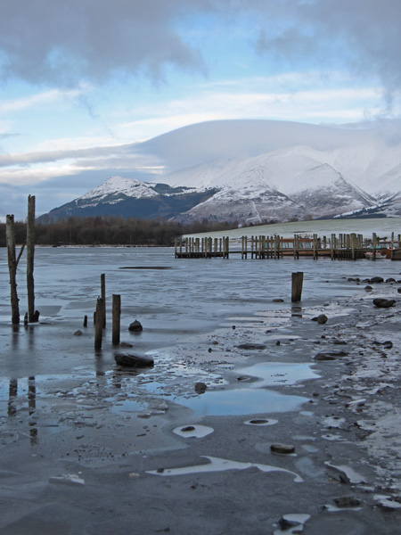 The Skiddaw fells from a partly frozen Derwent Water