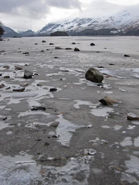A partly frozen Derwent Water