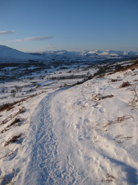 Looking towards the central fells from above Scales
