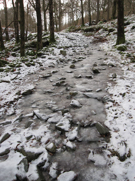 The paths are very icy in places