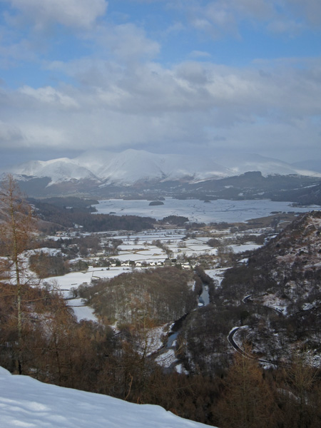 The Skiddaw fells and a frozen Derwent Water from Castle Crag's summit