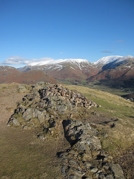 The Helvellyn ridge and Fairfield from Silver How's summit
