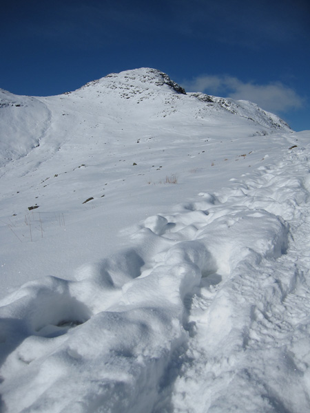 Bowfell from The Band with the Three Tarns col on the far left