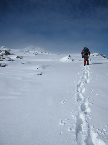 Heading for Bowfell's summit