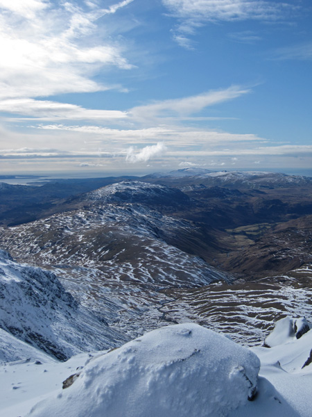 Hard Knott, Harter Fell and Eskdale from Bowfell's summit
