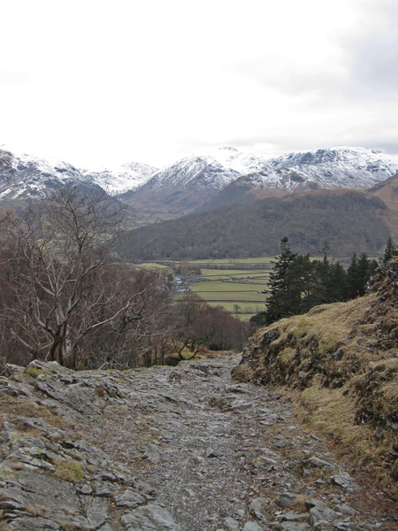 The track back down to Rosthwaite in Borrowdale