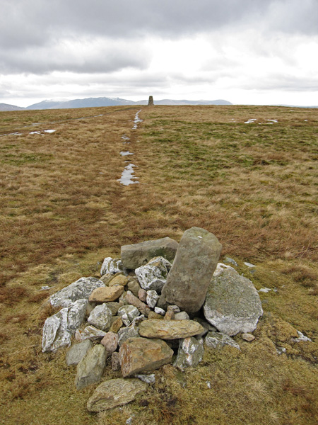 Loadpot Hill summit, looking from the cairn to the trig point