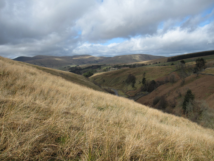 Looking back down Uldale with the Howgill Fells in the distance