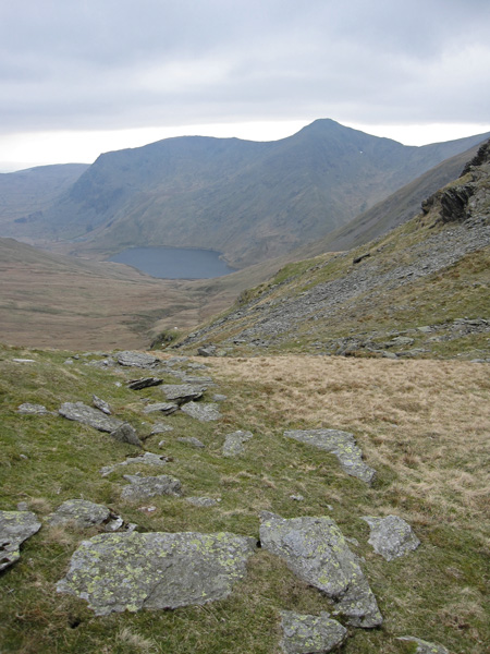 Yoke and Ill Bell above Kentmere Reservoir from Nan Bield Pass