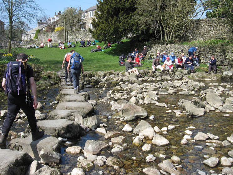 The stepping stones across Stainforth Beck, and lunch