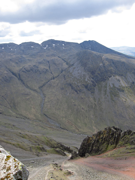 The Scafells from the Westmorland Cairn with Great Hell Gate below