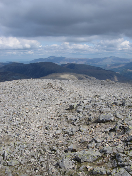 North towards Skiddaw and Blencathra from Great Gable's summit