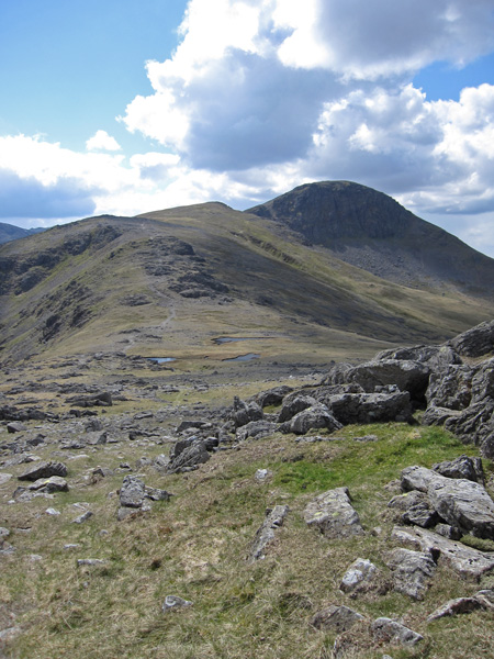 Looking back over the tarns at Gillercomb Head to Green and Great Gable from the slopes of Brandreth