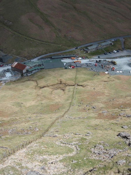 Honister Mine buildings and the YHA hostel at Honister Hause