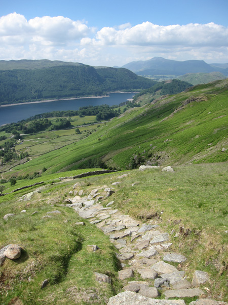 Thirlmere with the Skiddaw fells in the distance from above Swirls
