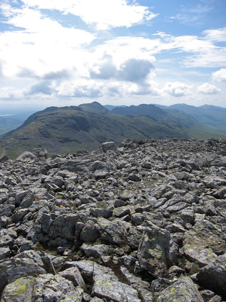 Esk Pike with Bowfell behind from Great End's summit