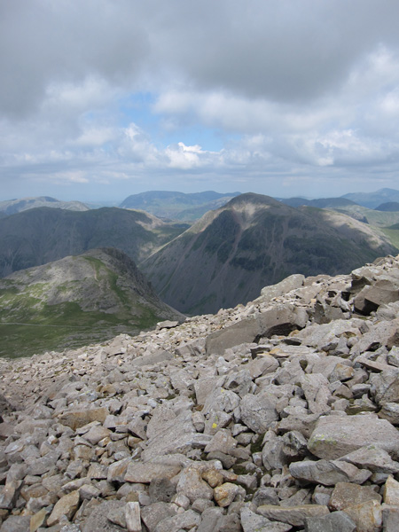 Lingmell and Great Gable from the descent off Scafell Pike