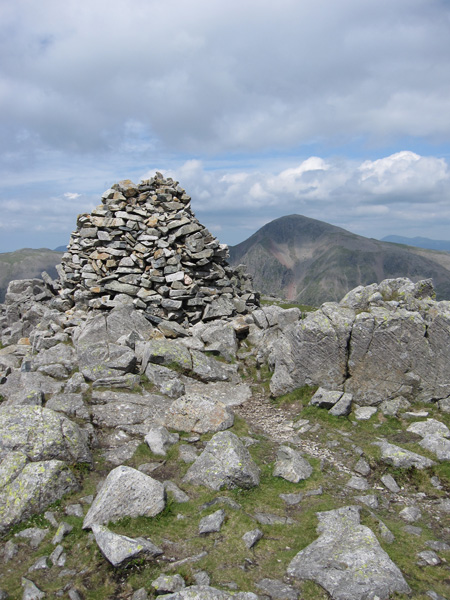 Lingmell's summit cairn and Great Gable