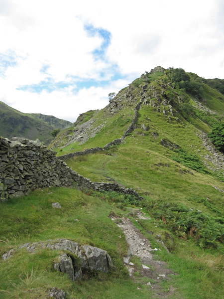 Swine Crag at the start of the Rough Crag ridge, the path avoids it by crossing the wall and keeping to the left
