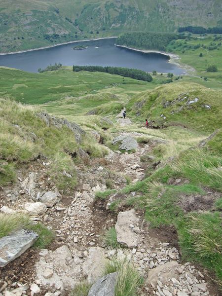 The steep descent off Kidsty Howes down to Haweswater