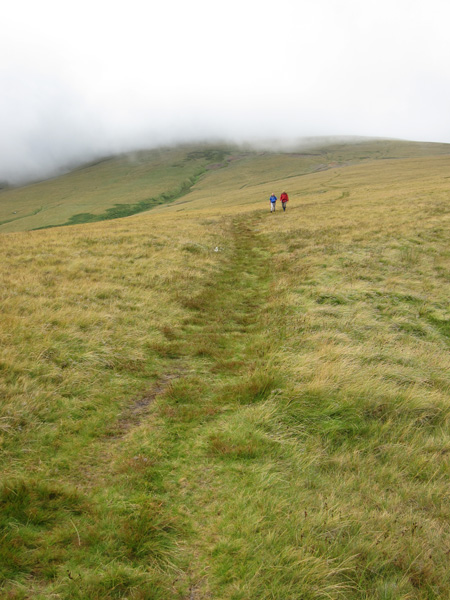 Our route off High Pike which is still in cloud