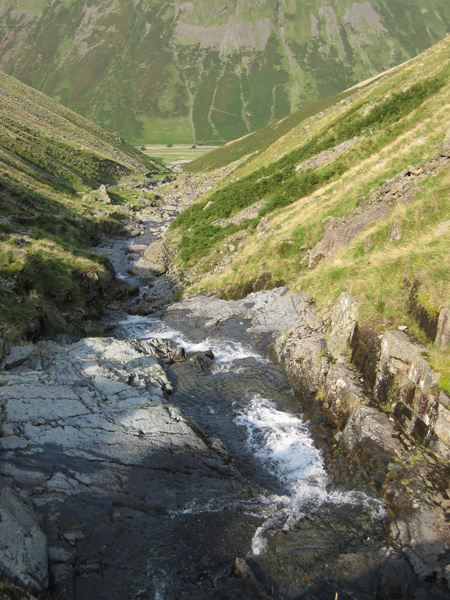 Looking back down Raise Beck to Dunmail Raise