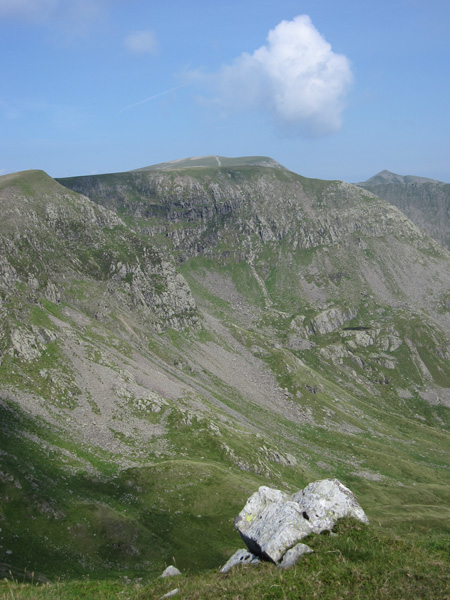 High Crag, the flat topped Nethermost Pike with Helvellyn behind and the pointed Catstycam