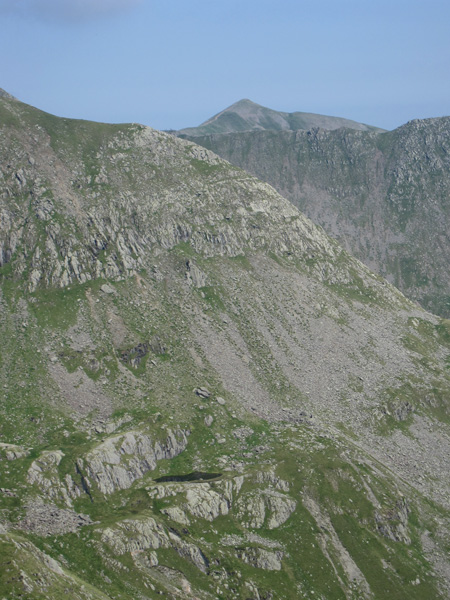 Zooming in on Nethermost Pike's east ridge and Hard Tarn