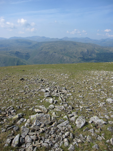 Bowfell, Scafell Pike, Great Gable and Pillar behind High Raise and Ullscarf to name a few, from High Crag
