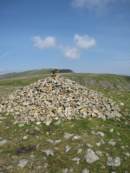 High Crag's summit cairn, looking towards Nethermost Pike and Helvellyn