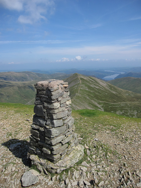 Catstycam with Ullswater in the distance from Helvellyn's summit trig point