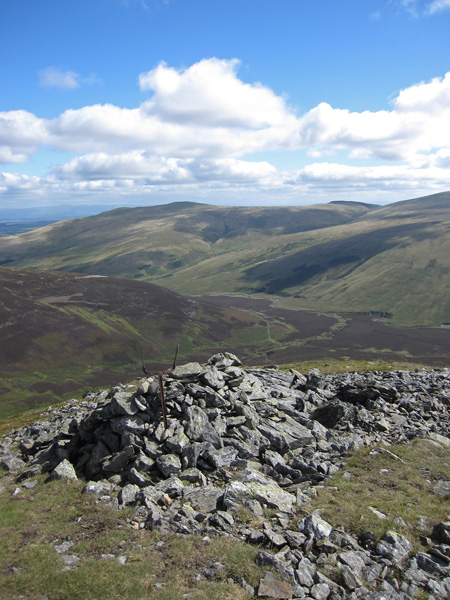 The valley of the River Caldew, Bowscale Fell and the flanks of Mungrisdale Common on the right from Great Calva's summit