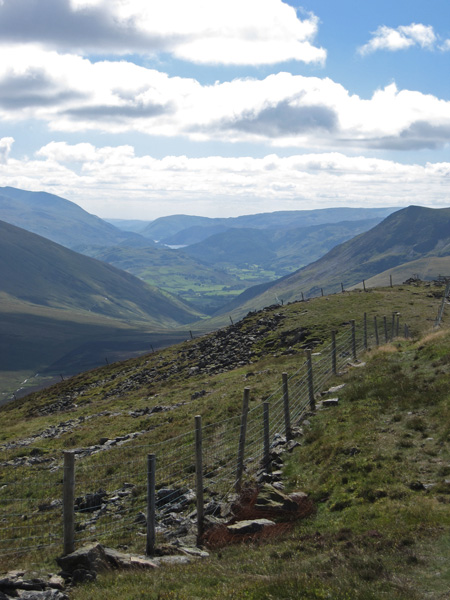 South, into the sun, with Helvellyn on the left, a glimpse of Thirlmere and Lonscale Fell on the right
